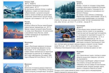 Страны самых суровых зим