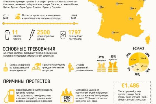«Желтые жилеты»: семь месяцев протестов