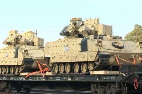 Американские танки и БМП прибыли на литовскую базу на границе с Белоруссией