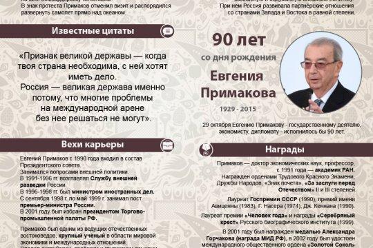 90 лет со дня рождения Евгения Примакова
