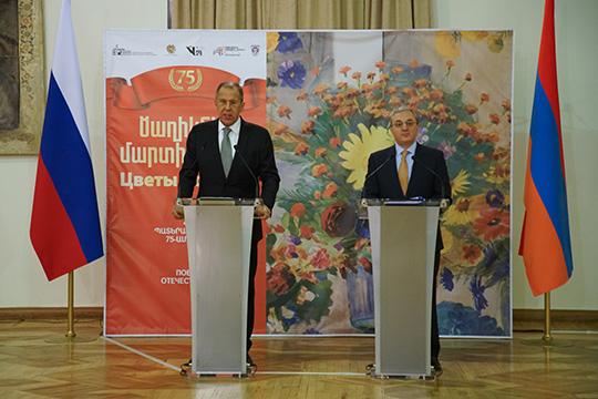 Сергей Лавров выступил на церемонии открытия выставки в Национальной картинной галерее Армении, посвященной 75-летию Победы в Великой Отечественной войне