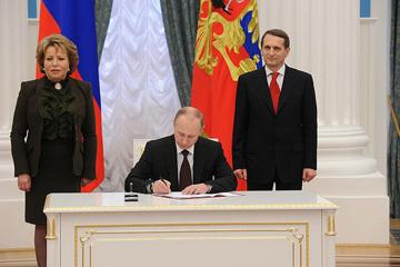 Церемония подписания законов о принятии Крыма и Севастополя в состав России