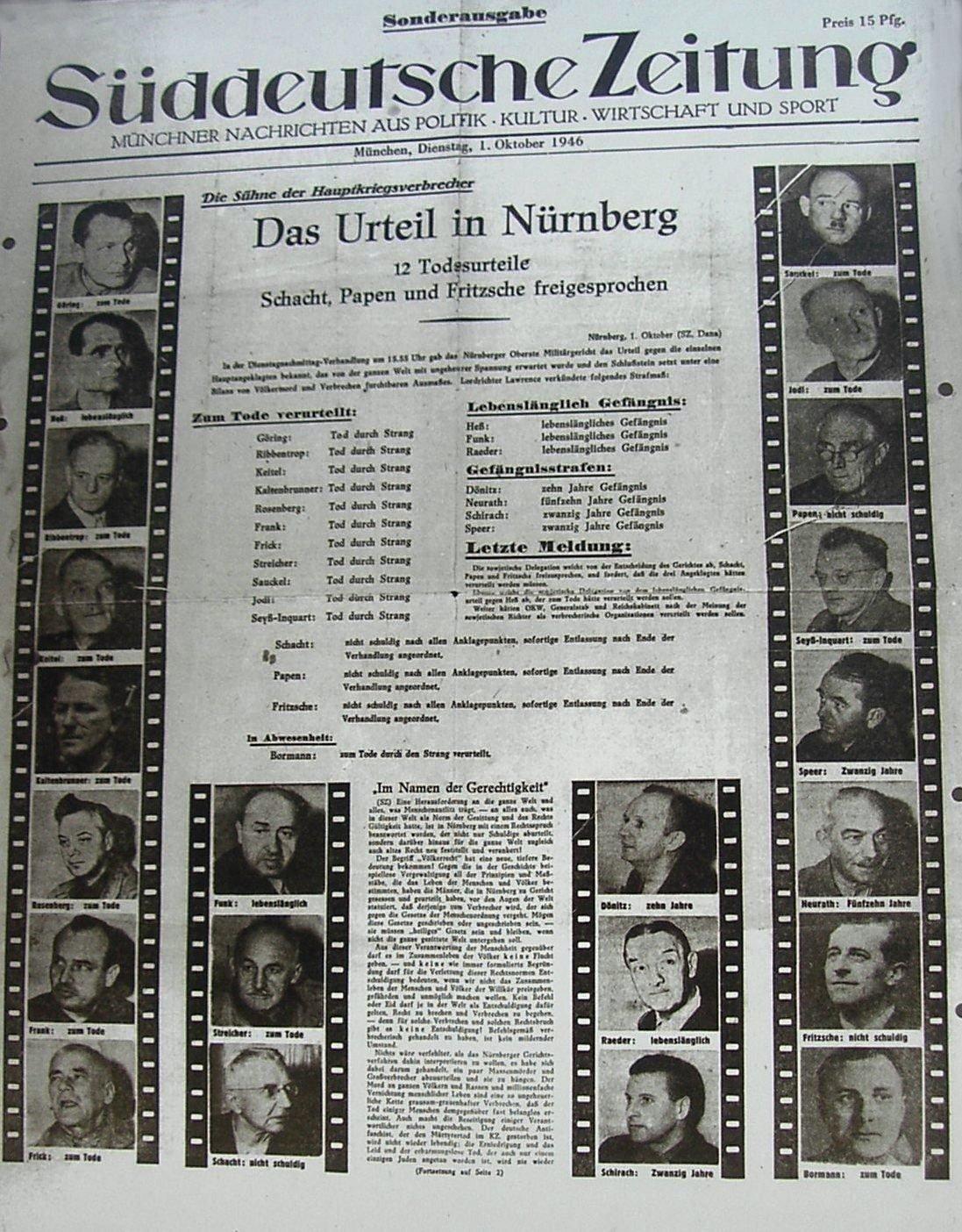 Плакат с фотографиями обвиняемых фашистских главарей