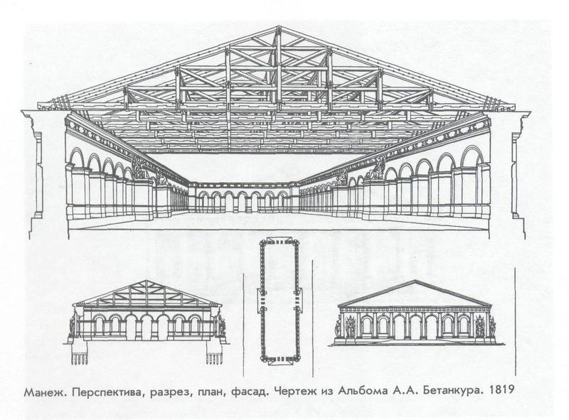 Чертеж Бетанкура, по которому был построен Московский Манеж.