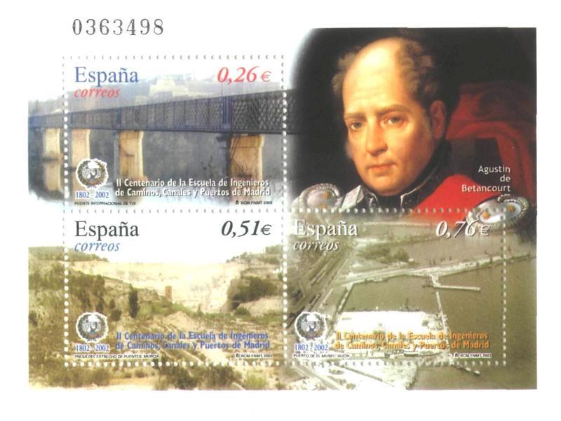 Памятный блок почтовых марок, выпущенный в Испании в 2002 г. к 200-летию основания Бетанкуром в Мадриде Школы инженеров дорог, каналов и портов.