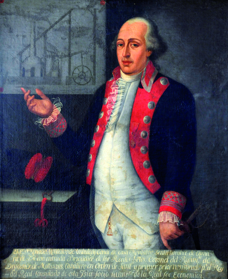 Портрет графа Касы Монтальво с изображением схемы паровой машины Бетанкура в левом от нас верхнем углу. Автор – современник графа кубинский художник Хуан дель Рио.