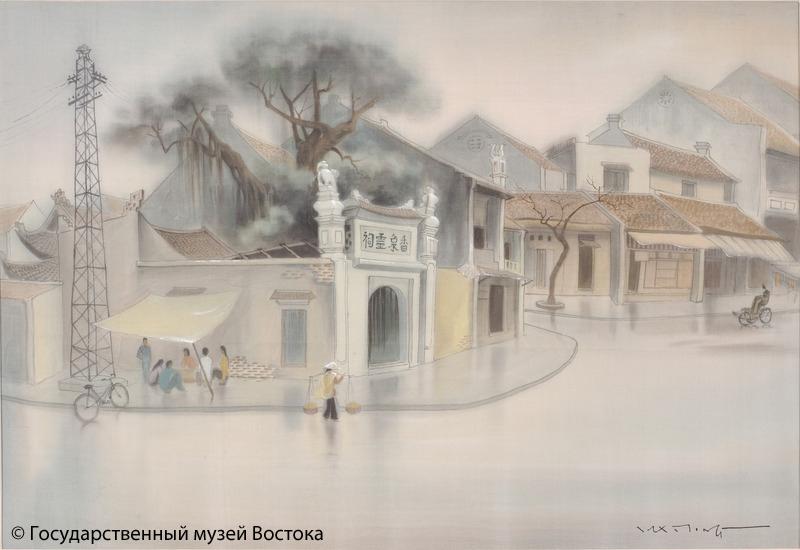 Май Лонг.Улочки Ханоя после дождя. 1990 г. Шелк, водяные краски.